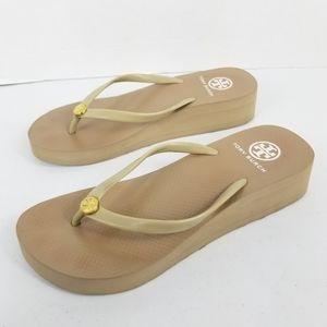 Tory Burch Tan Flip Flips Platform Sandals *READ*